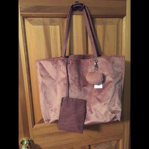Pink velvet bag with small bag and key chain new
